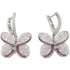 Graff White Gold Princess Butterfly w/Diamonds &  Pink & Purple Sapphire Earring
