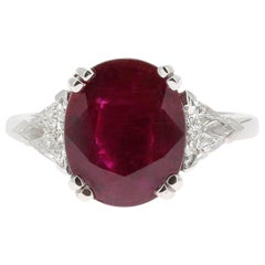 4.20 Carat  NoHeated Ruby Cocktail Ring Set with Triangle White Diamond 0.61 Cts