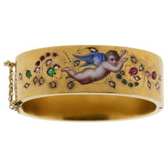 Antique French Late Victorian 18k Gold Enamel Ruby Diamond Cherub Cuff Bracelet