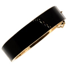 Antique Late Victorian 14 Karat Gold Black Enamel Cuff Bracelet