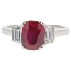 2.11 Carat Ruby Cocktail Ring Set with Baguette White Diamond No Heated