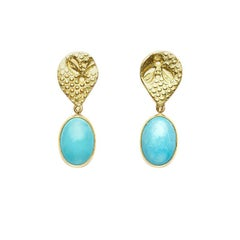18 Karat Gold Busy Bee Earrings with Turquoise Drops