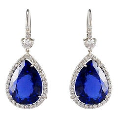 27.61 Carat Total Pear Shape Tanzanite and Diamond Earrings in 18 Karat Gold