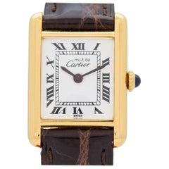 Cartier Tank Must de Ladies Sized 18 Karat Yellow Gold Plated Watch, 1990s