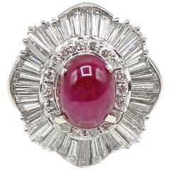 Cabochon Ruby Diamond Platinum Ring