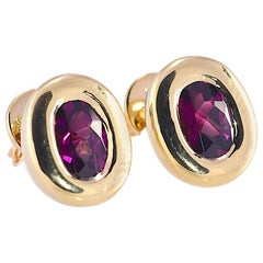 18 Karat Yellow Gold Rhodolite Garnet Bezel Set Solitaire Earrings 7.9 Grams