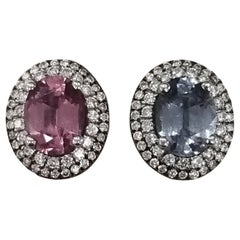 2 Oval Pink and Blue Spinel Diamond Earrings Set in 14 Karat White Gold