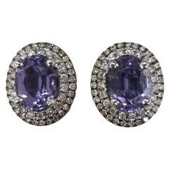 14 Karat White Gold Lavender Spinel Diamond Earrings