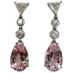 14 Karat White Gold Morganite and Diamond Dangle Drop Earrings