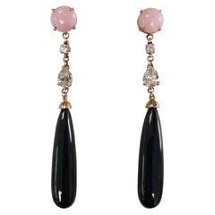 14 Karat Rose Gold Deco Inspired Pink Opal, Diamond and Black Jade Earrings