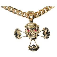 14 Karat Gold Skull Pendant with Black Diamonds and Rubies