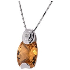 4.5 Carat Total Weight Madeira Citrine & Diamond White Gold 18K 3.90 grams
