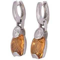 9 TCW Natural Madeira Citrine & Diamond White Gold 18K Dangle Earrings 12 grams