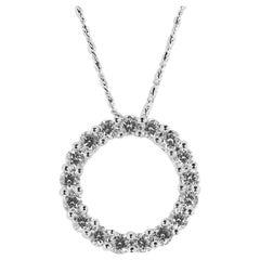 18 Karat White Gold Diamond Circle Pendant 1.0 Carat Total Weight , 14K Chain