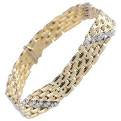 Fope Italian Panther Link 18 Karat Yellow Gold Diamond Bracelet 1.2 Carat