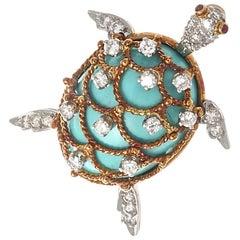 Hammerman Brothers Turquoise Diamond Gold Brooch