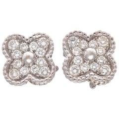 Van Cleef & Arpels Diamond Gold Alhambra Earrings