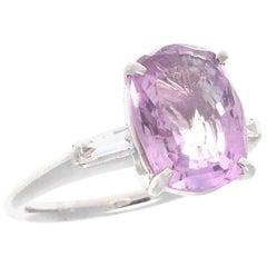Modern 3.20 Carat Pink Sapphire Diamond Platinum Ring