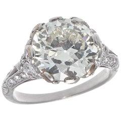 Art Deco GIA 3.47 Carat Diamond Platinum Engagement Ring