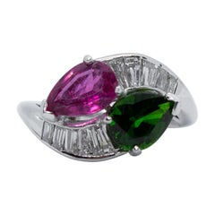Estate Platinum Pink and Green Tourmaline and Diamond Bypass Fashion Ring