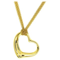 Tiffany & Co. 18 Karat Yellow Gold Open Heart Mesh Chain Necklace Pendant