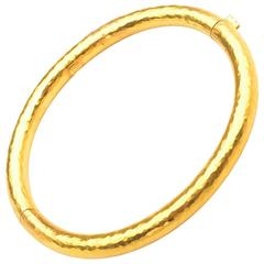 Hammered Gold Bangle Bracelet with Hinge