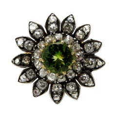 Estate Antique Peridot Victorian Style Diamond Daisy Flower Ring