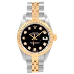 Rolex Datejust Steel Yellow Gold Black Diamond Dial Ladies Watch 79173