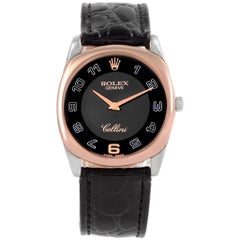 Rolex Cellini Danaos White Rose Gold Black Strap Men's Watch 4233