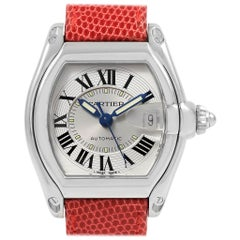 Cartier Roadster Men's Steel Red Strap Large Watch W62000V3