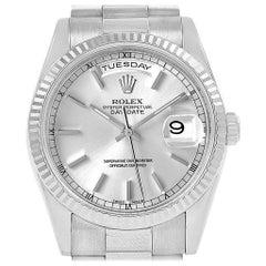 Rolex Day-Date President 18 Karat White Gold Silver Dial Men's Watch 118239