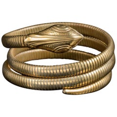 Antique Victorian Coiled Snake Bangle Gold Gilt, circa 1900