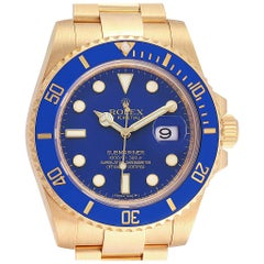 Rolex Submariner Blue Dial Yellow Gold Men's Watch 116613 Box Card