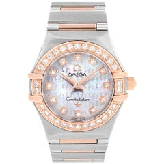Omega Constellation 95 MOP Diamond Steel Rose Gold Ladies Watch 1360.75.00
