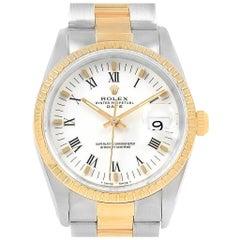 Rolex Date Men's Steel 18 Karat Yellow Gold White Dial Men's Watch 15223