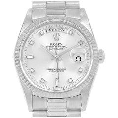 Rolex President Day-Date 18 Karat White Gold Diamond Men's Watch 18239