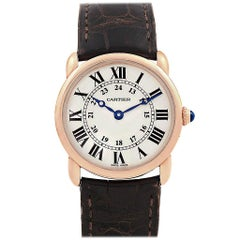 Cartier Ronde Louis Rose Gold Brown Strap Ladies Watch W6800151