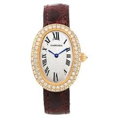 Cartier Baignoire Burgundy Strap Yellow Gold Diamond Ladies Watch 1954