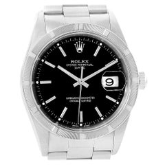 Rolex Date Black Dial Steel Men's Watch 15210 Box Papers