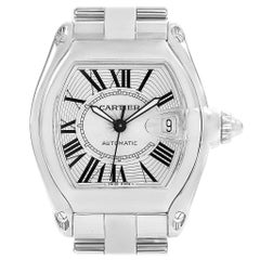 Cartier Roadster Silver Roman Dial Steel Men's Watch W62025V3
