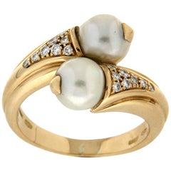 Bulgari 18 Karat Yellow Gold Diamonds Pearls Cocktail Ring