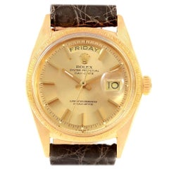 Rolex President Day-Date Yellow Gold Brown Strap Men's Watch, 1807