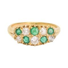 Antique Victorian Emerald Diamond Chequerboard Ring