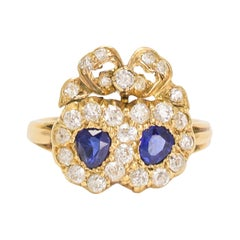 Victorian Sapphire Diamond Bowed Double Heart Ring