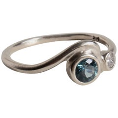 M. Hisae Teal Blue Sapphire & Champagne Diamond Wave Cocktail Ring