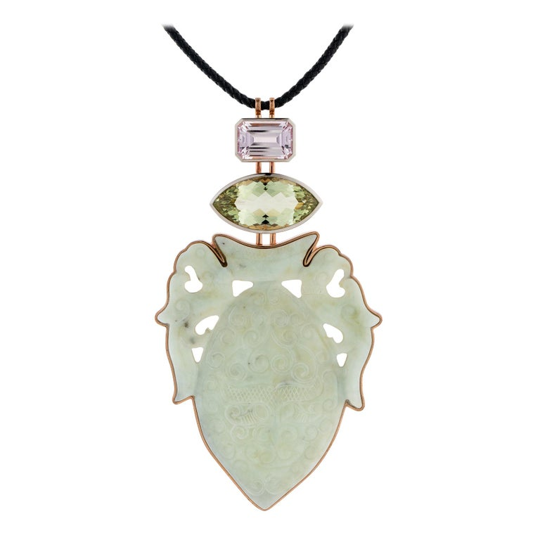 Historic Jade, Beryl '29.87 Carat,' Kunzite, White Gold Bronze Pendant by Wagner For Sale