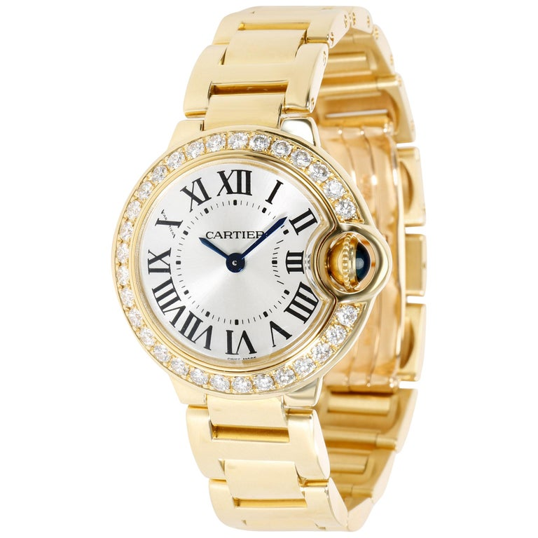 Unworn Cartier Ballon Bleu WE9001Z3 Women's Watch in 18 Karat Yellow Gold For Sale