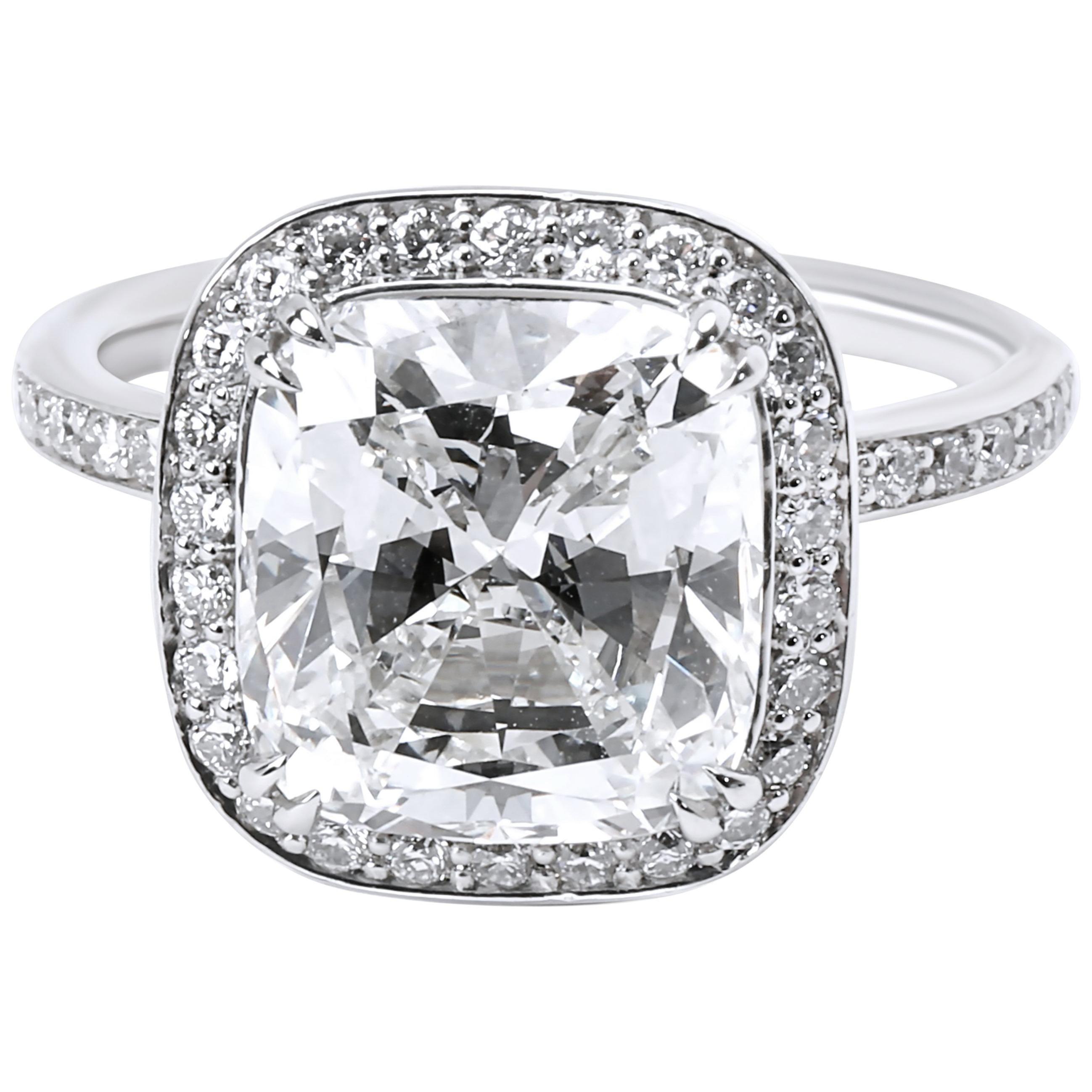 GIA Certified Halo Cushion Diamond Engagement Ring in Platinum G VS1 4.48 Carat