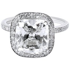 GIA Certified Halo Cushion Diamond Engagement Ring in Platinum G VS1 4.48 Carat