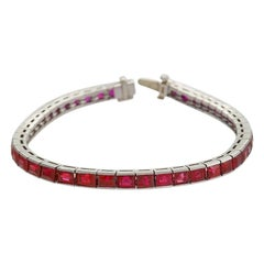 Platinum Line Bracelet with Rubies